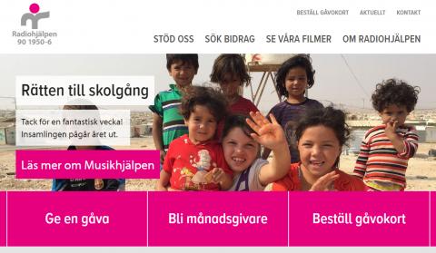 Bild på Radiohjälpens nya webbplats som Wappo tagit fram